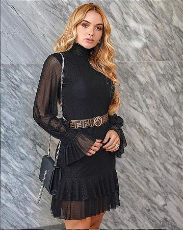 Vestido de curto de tule manga longa preto, formatura