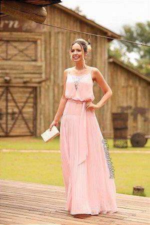 Vestido de festa longo com decote bordado, madrinha casamento, formatura, aniversário