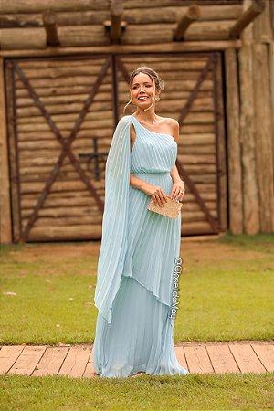 Vestido de festa longo plissado manga nula plissado, madrinha de casamento, formatura, aniversário