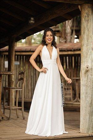 Vestido noiva civil longo, casamento, batizado, pre-wedding