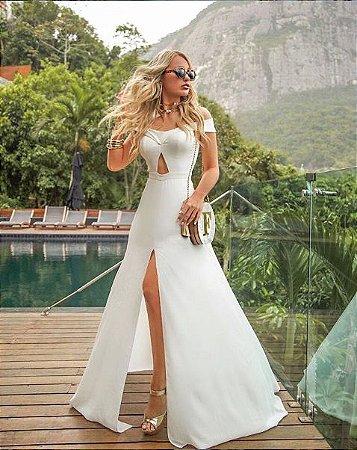 Vestido De Noiva Branco Ombro A Ombro Com Decote Casamento Batizado Pre Wedding