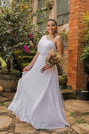Vestido de noiva, manga nula, plissado. Para pré-wedding, noivado, batizado, e casamento civil.