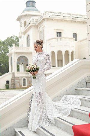 Vestido de casamento longo com bordado manga longa, noiva, casamento civil, bodas, aniversário, pre wedding