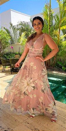 Vestido de festa longo com decote estampado, madrinha de casamento, formatura, aniversário