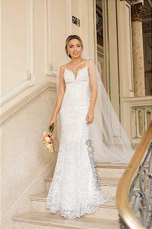b30ca7e6e Vestido de casamento noiva branco alças, batizado, pre wedding,  aniversário, bodas,