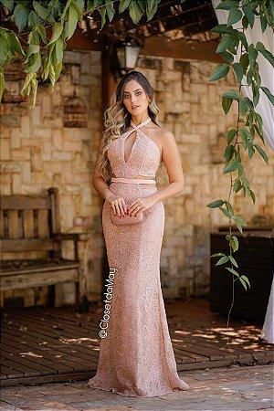Vestido de festa longo frente unica de renda com tiras, madrinha de casamento, formatura, aniversário.