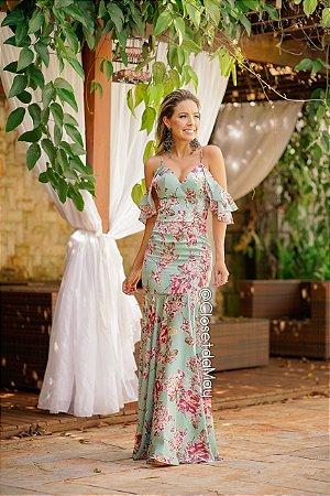Vestido de festa longo estampando alça manga com babado, madrinha de casamento, formatura, aniversário