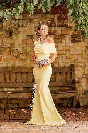 Vestido longo ombro manga nula modelo sereia, madrinha de casamento, formatura, aniversário
