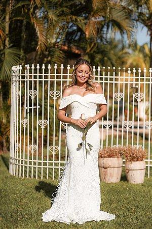 Vestido de noiva ombro a ombro de renda modelo sereia, casamento civil, branco, batizado, aniversário, bodas