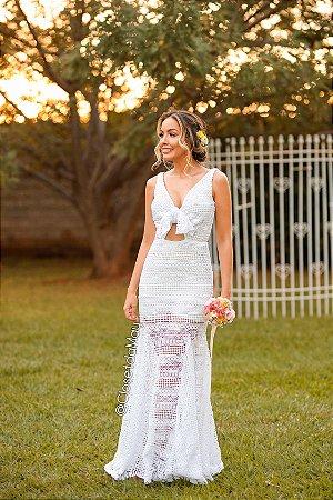 Vestido de noiva longo renda guipir decote amarrações, branco, batizado, pre wedding, bodas