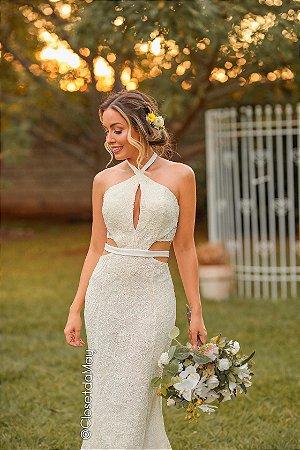 Vestido de noiva longo off white de renda com decote, batizado, pre-wedding, bodas, casamento civil, aniversário