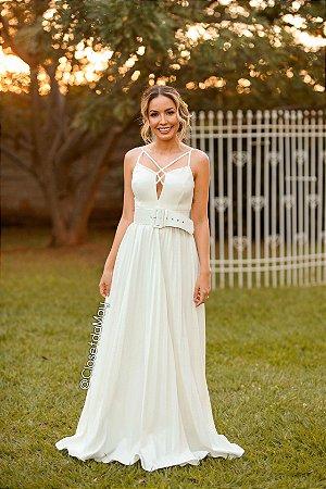 Vestido de noiva longo branco plissado de alças, batizado, casamento civil, pre wedding, bodas