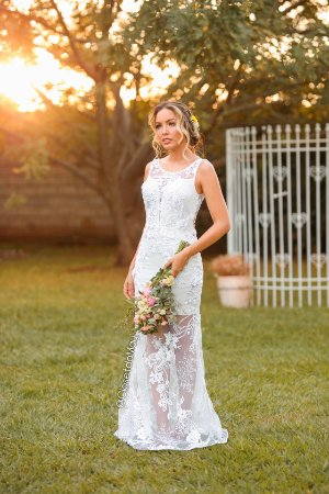 Vestido de noiva longo 3D, batizado, pre wedding, bodas, branco