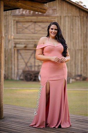 Vestido de festa longo ombro a ombro de alça, madrinha de casamento, formatura, aniversário