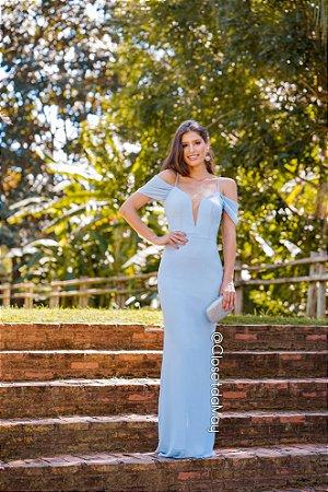 Vestido de festa decote em V ombro a ombro com alça regulável, madrinha de casamento, formatura, aniversário