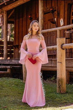 vestido de festa ombro a ombro, com manga, madrinha de casamento, convidada de casamento