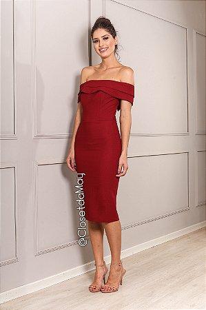 vestido de festa midi, ombro a ombro, com babado, para convidada, aniversariante