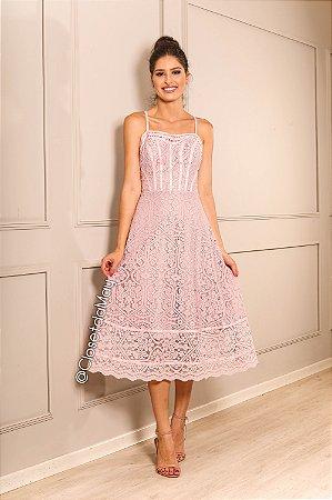 vestido de festa midi, alça, renda guipir, convidadas, aniversariante.