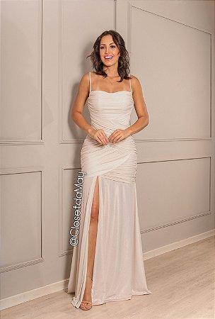 vestido de festa longo, franzido, com fenda, bojo, alça. para noiva civil.