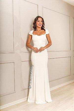 vestido de noiva longo, gola livre, com bojo, para casamento, batizado.