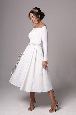 vestido branco midi lady like, manga longa, com bojo, para casamento, batizado.