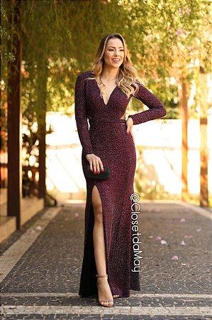 vestido de festa longo com fenda, manga longa, tira na cintura, para madrinhas, convidadas, formanda.