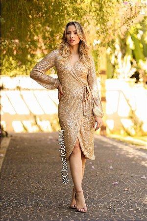 vestido de festa midi de paetê, ajustavel, manga longa, para convidadas.