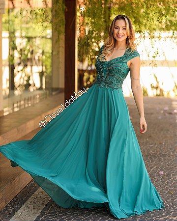 vestido de festa longo top pedraria, com bojo, saia fluida, para madrinhas, convidadas, formanda.