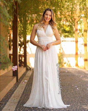 Vestido de noiva longo decote em V, cruzado, com bojo, tule em renda, para casamento, pre wedding.