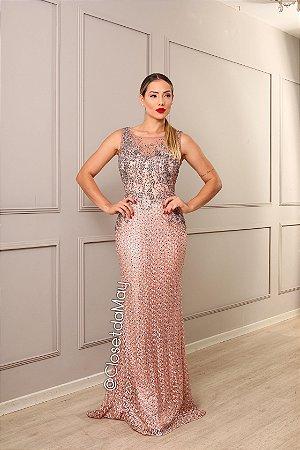 vestido de festa longo tule bordado, pedraria, com bojo, para magrinha, convidada, formanda