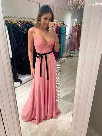 vestido de festa longo decote em V, alça, bojo, cinto veludo, para madrinhas, convidadas.