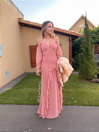 vestido de festa longo plissado, babado, alça, manga longa, para madrinhas, convidadas