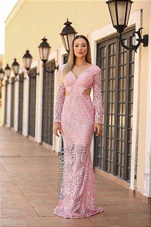 vestido de festa longo manga longo, em renda, decote lateral, para madrinhas, convidadas, formanda