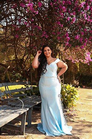 vestido de festa longo decote princesa, com bojo, para madrinhas, convidadas