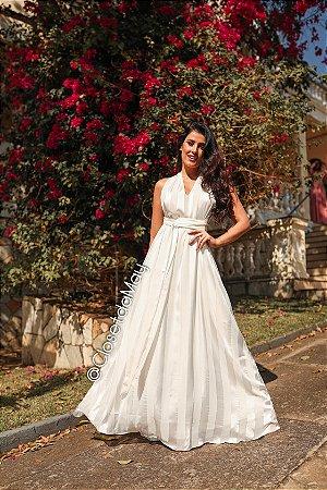 Vestido de noiva longo, tamanho regulável. Para casamentos, batizados, bodas, pré-wedding.