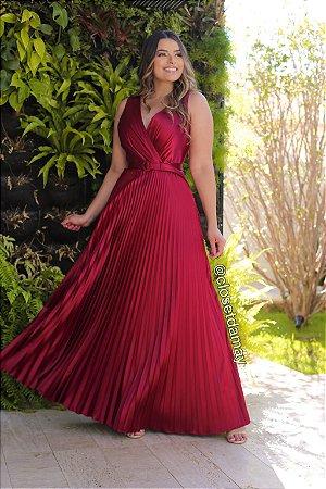 vestido de festa longo saia plissada, com bojo, cinto, alça, para madrinha, convidadas