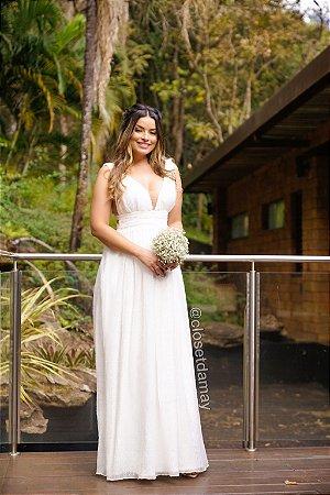 vestido de noiva longo poa tule lateral, com bojo, para casamento, batizada, pre wedding