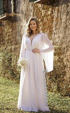 Vestido De Noiva Longo Lures Manga Com Bojo Para Casamento Pre Wedding