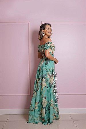 vestido de festa longo estampado, ombro a ombro, manga curta, com bojo, para madrinhas, convidadas, aniversariante
