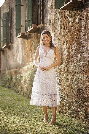 vestido de noiva midi em renda, decotem em V, para casamento, batizado, bodas