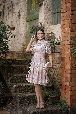 vestido de festa midi em renda, manda curta, para madrinhas, convidadas, aniversariante