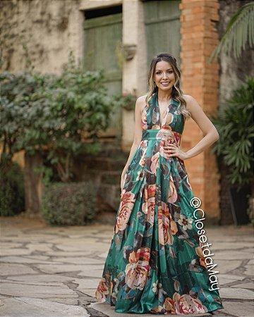 vestido de festa longo estampado frente unica, para madrinhas, convidadas, aniversariante