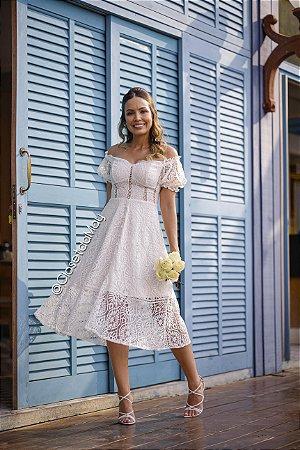 vestido de noiva midi ombro a ombro, manga, para casamento, batizado, bodas