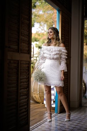 vestido de noiva midi manga longa, busto com babado, para casamento, batizado, bodas