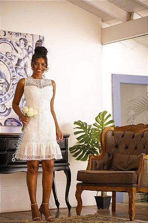 vestido de noiva midi com babado, trançado, para casamento, batizado, bodas