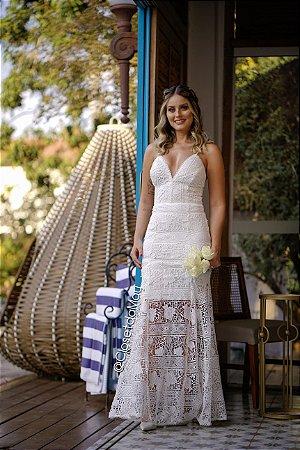 vestido de noiva longo em renda, decote em V, alça, recorte, para casamento, batizado, pre wedding