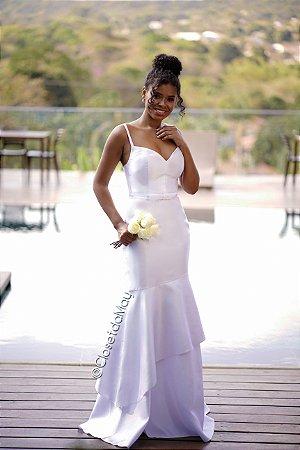 vestido de noiva longo decote em V, com camadas, cinto, alça, bojo, para casamento, pre wedding