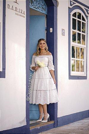 vestido de noiva midi ombro a ombro, lese,  manga, com bojo, para casamento, batizado, bodas
