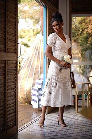 vestido de noiva midi decote em V, manga, lese, para casamento, bodas, batizado
