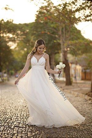 vestido de noiva longo decote em V, alça, organza, para casamento, pre wedding